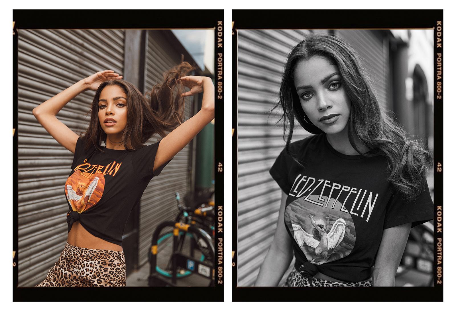 Melody @ The Squad portrait in Led Zeppelin shirt by London photographer Ailera Stone