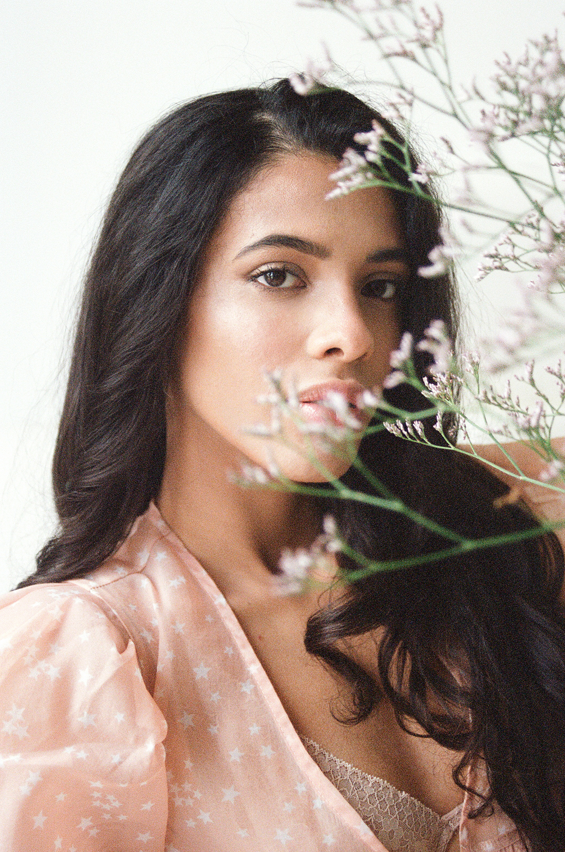 35mm film model portrait with flowers - Beatriz @ PRM by London photographer Ailera Stone