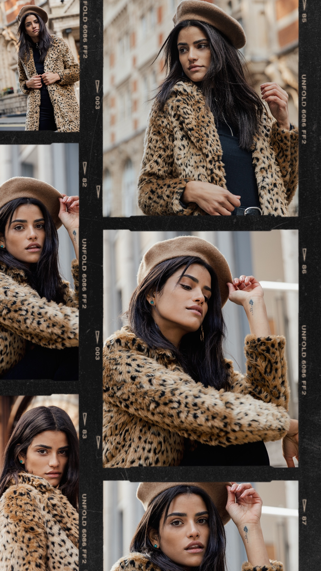 collage of parisian style wearing model with black hair wearing a beret and a leopard print coat