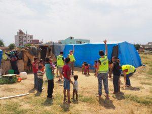 refugee kids gymnastics tent