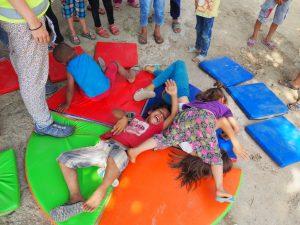 refugee kids having fun