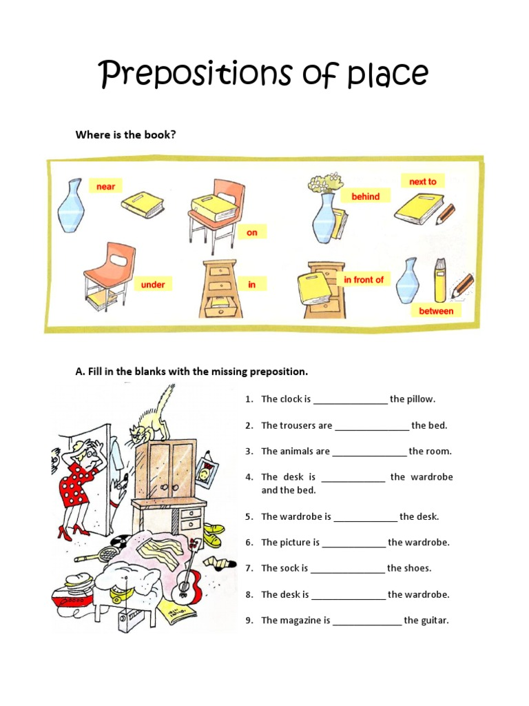 Worksheets Prepositions Of Place Show And Text