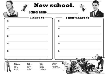 Escribir normas del colegio usando have to