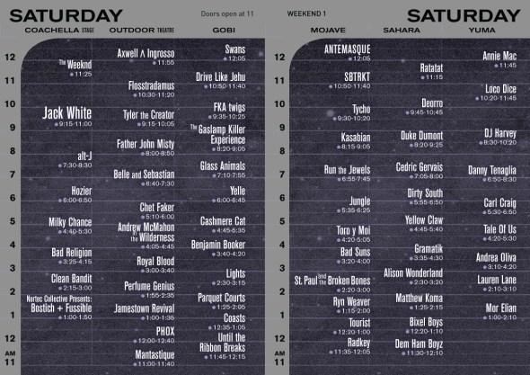 2015 Coachella - Saturday set times