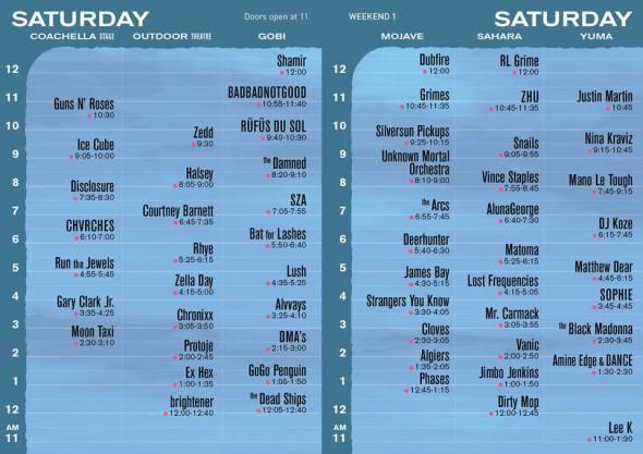 Coachella 2016 - Saturday set times