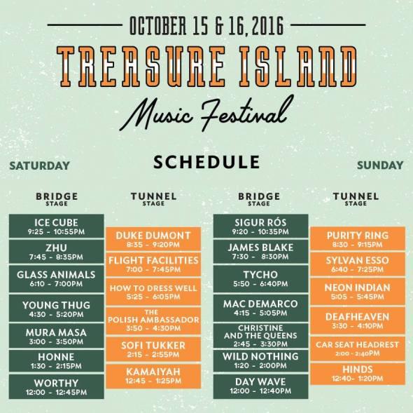 Treasure Island Music Festival 2016 - schedule