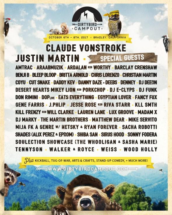 Dirtybird Campout - 2017 lineup