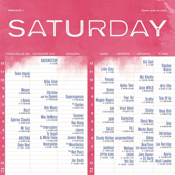 Coachella 2019 - Weekend 1 - Saturday set times