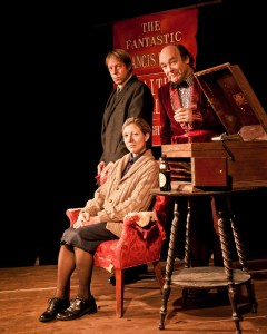 (left to right) Si Osborne, Lia D. Mortensen and Brad Armacost in a publicity image for The Den Theatre's remount of TurnAround Theatre's original production of FAITH HEALER by Brian Friel, directed by J.R. Sullivan. Photo by Joe Mazza.