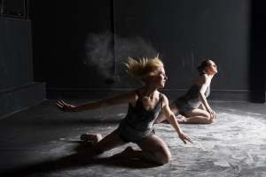 "(left to right) Taylor Stewart and Mary Tarpley in ""Limb,"" choreographed by Kaitlin Webster to be presented as part of The Den's Theatre's REPURPOSE created by Mary Tarpley. ""Limb"" is based on the bronze sculpture 'Untitled' by Kiki Smith. Photo by Eddie Eng"