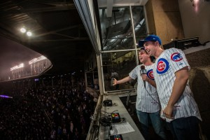 Nic Rouleau and Ben Platt performing the Seventh Inning Stretch.  Photo courtesy Steve Green.