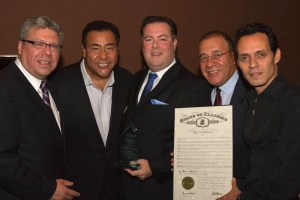 (L-R): Javier Salas, Senior Advisor at the Office of Illinois Governor Pat Quinn, John Quiñones of ABC News, Dillon Dalton, Changing Live, Building Dreams Inaugural Honoree, and Maestro Cares founders Henry Cardenas and Marc Anthony. Gov. Quinn declared Sept.9, 2013 as Maestro Cares Day in Illinois.