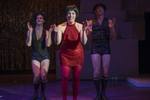 Andrew Swan, Danielle Plisz and John Francisco in We Three Lizas at About Face Theatre Photo: Michael Brosilow