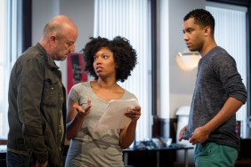 Hushabye-Rehearsal-2: Director and ensemble member Yasen Peyankov with McKenzie Chinn and Desmond Gray in rehearsal for Hushabye, written by Tanya Saracho and directed by ensemble member Yasen Peyankov, part of Steppenwolf Theatre Company's First Look Repertory of New Work. Featuring three developmental productions of new plays presented in rotating repertory, First Look runs July 26 – August 24, 2014 in the Garage Theatre (1624 N Halsted St).