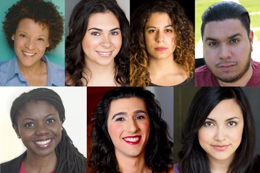 The cast of The Hypocrites' CINDERELLA AT THE THEATER OF POTATOES: (top, l to r) Gay Glenn, Amanda Martinez, Dana Omar and Joel Rodriguez, and (bottom, l to r) Leslie Ann Sheppard, Alex Walker and Aja Wiltshire.