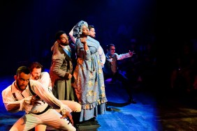 (left to right) Desmond Gray, Josh Odor, Breon Arzell, Edward Mawere, Japhet Balaban and Chris Acevedo in The Hypocrites' Chicago premiere of YOU ON THE MOORS NOW by Jaclyn Backhaus, directed by Devon de Mayo. Photo by Evan Hanover.