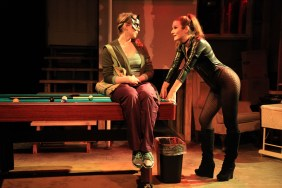 (left to right) Laura Berner Taylor and Sarah Gise in Interrobang Theatre Project's Midwest premiere of STILL by Jen Silverman, directed by Georgette Verdin. Photo by Emily Schwartz.