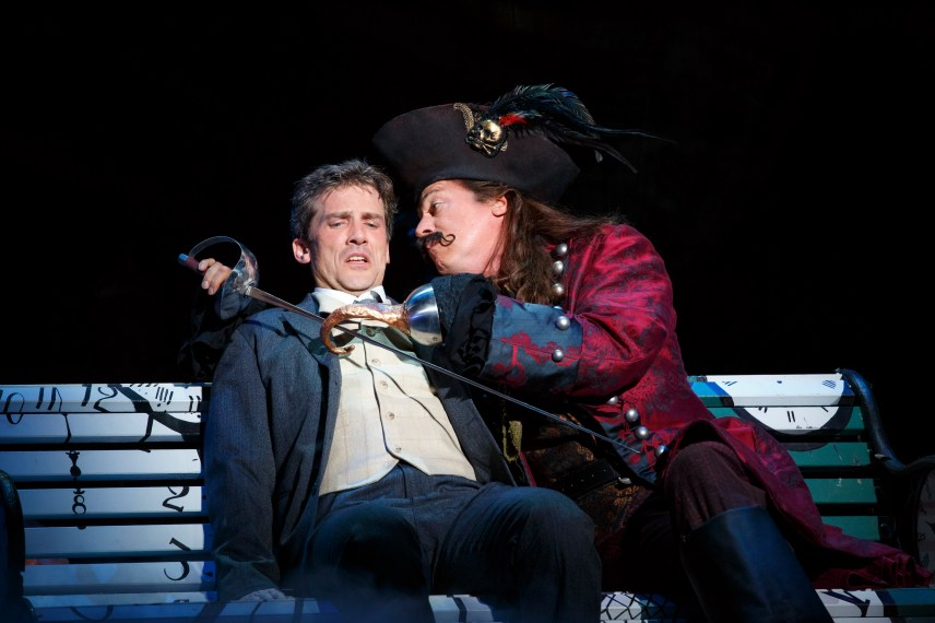 Kevin Kern as JM Barrie and Tom Hewitt as Captain Hook in the National Tour of Finding Neverland Photo Credit Carol Rosegg
