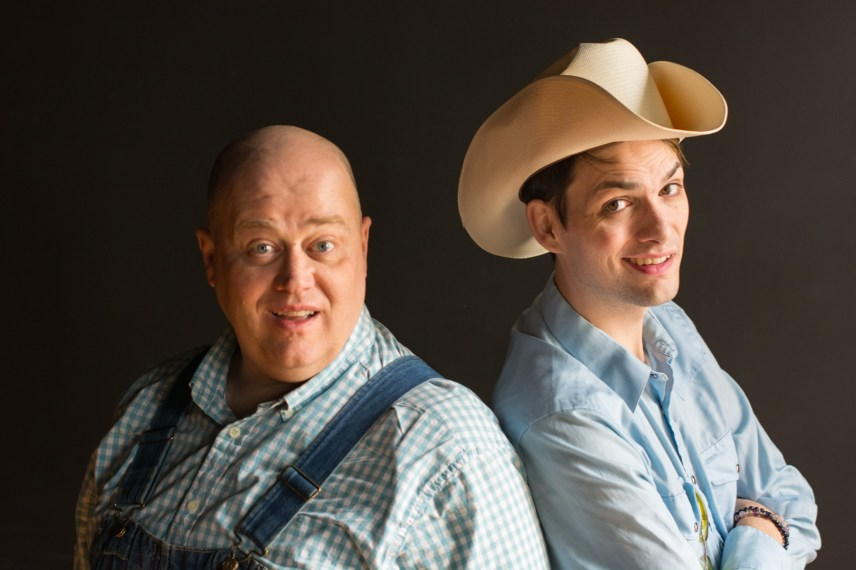 Anthony Whitaker and Grant Drager in a publicity image for New American Folk Theatre's Midwest premiere of DEEP IN THE HEART OF TUNA. Photo by Paul Clark.