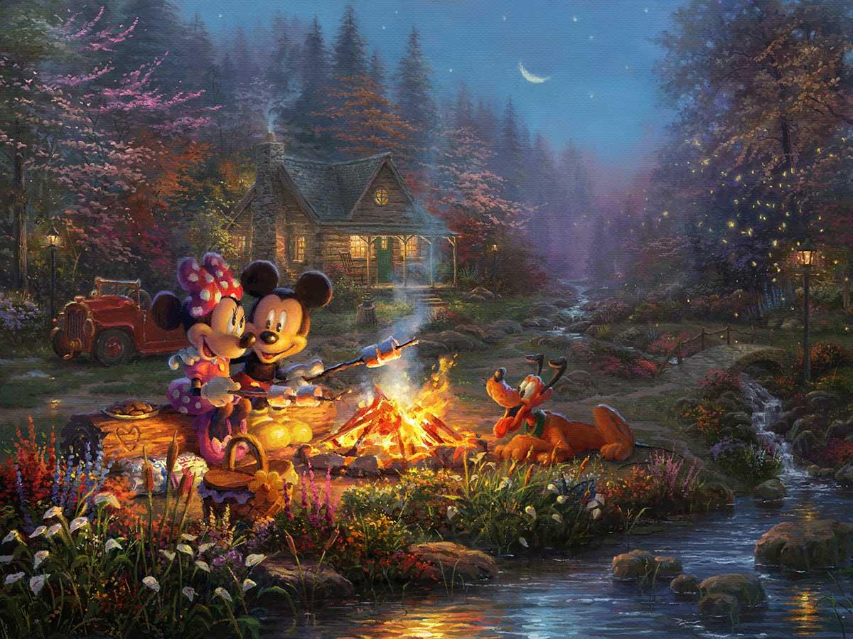 Thomas Kinkade Studios Mickey and Minnie Sweetheart Bridge 9 x 12 Framed Classic