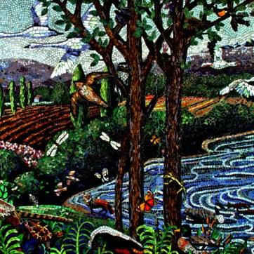 Partial mosaic mural view.