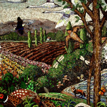"""Mosaic Mural The Skagit Middle section full mural size is 60"""" x 144"""" pheasant, eagle, swallow, migratory swans, fox, insects tulip fields"""