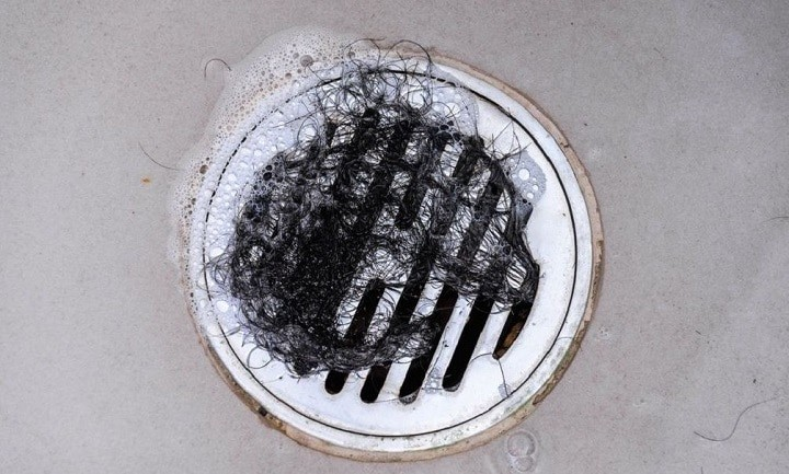 Hair in shower drain