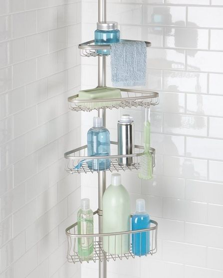 mDesign Bathroom shower storage tension constant pole caddy