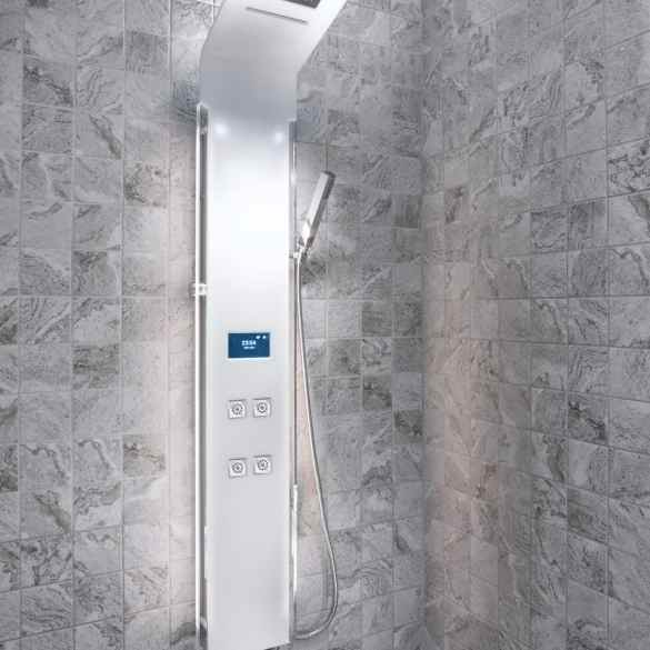 smart electronic shower panel in tiled room
