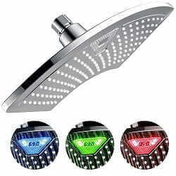 DreamSpa 1489 AquaFan 12 inch All-Chrome Rainfall Shower-Head with Color-Changing LED/LCD