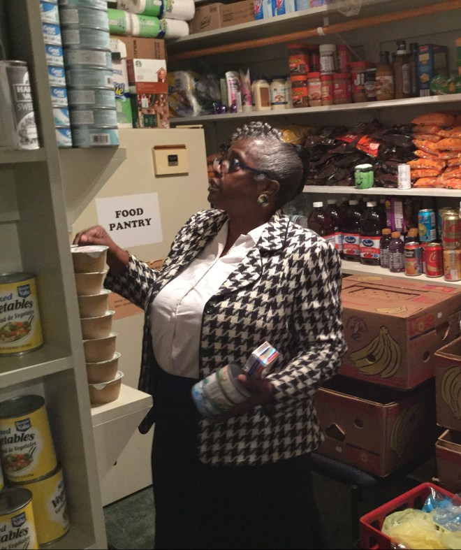 Pastor Myers in the Food Pantry