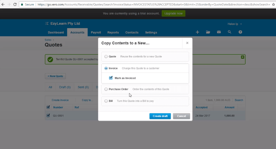 Xero Training - Accept and Create an Invoice for a Quote