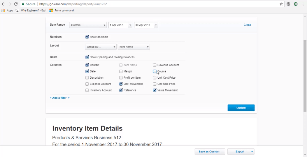 ACCTXER5121301 Xero Training - Learn to Run an Inventory Item Details Report