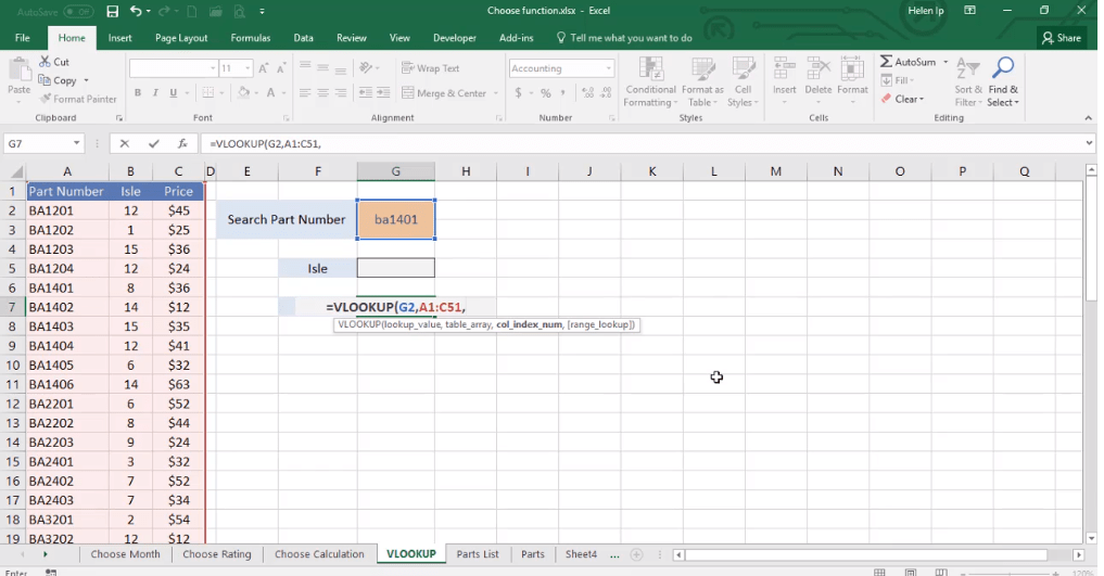 ADMNEXC308401 Excel Training - How to insert a VLOOKUP function