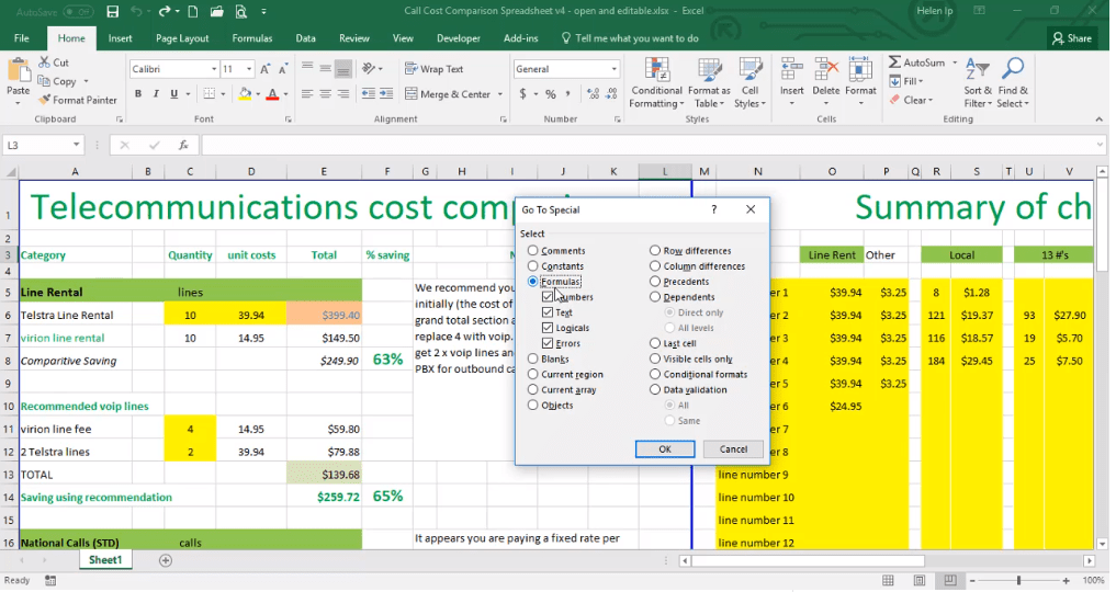 ADMNEXC308702 Excel Training - How to Find Cells which contain calculations
