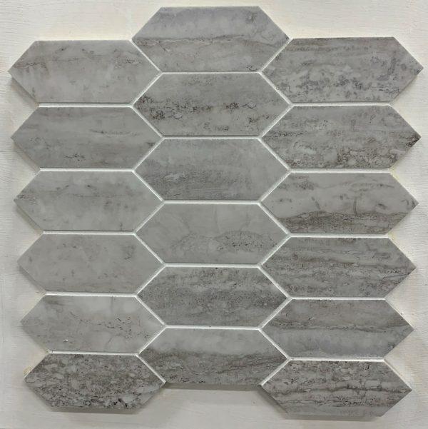 matte silver hex shaped mosaic tile