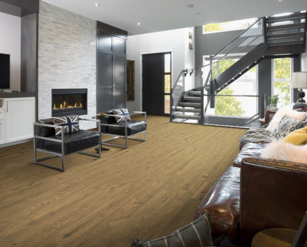 engineered hardwood in staging room, light brown
