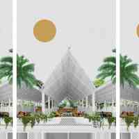 Architecture Collage Illustration Market Plaza