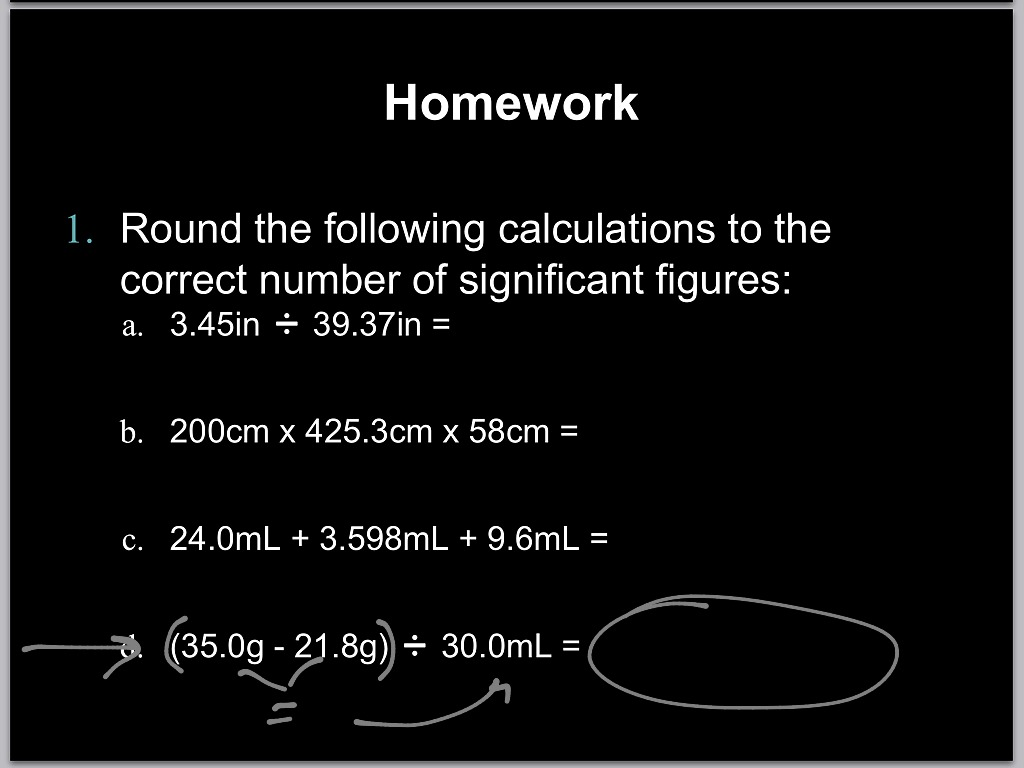 Calculations Involving Sig Figs