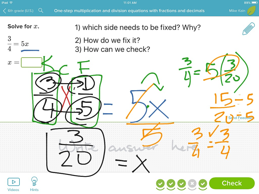 One Step Multiplication And Division With Fractions And