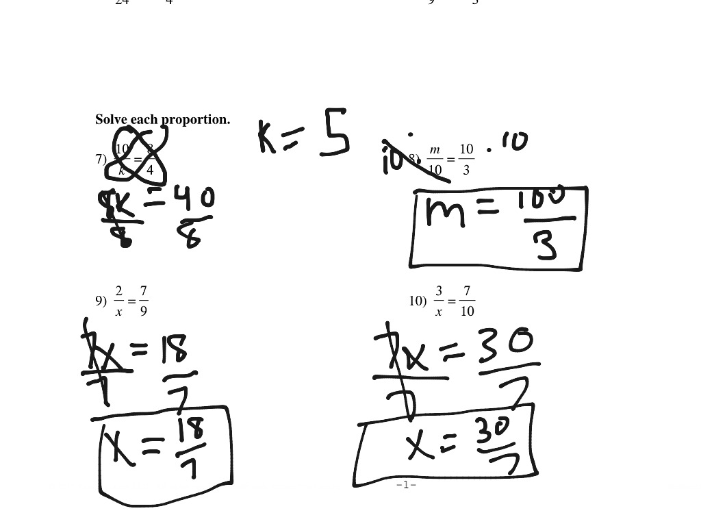 Algebra Proportions Worksheet