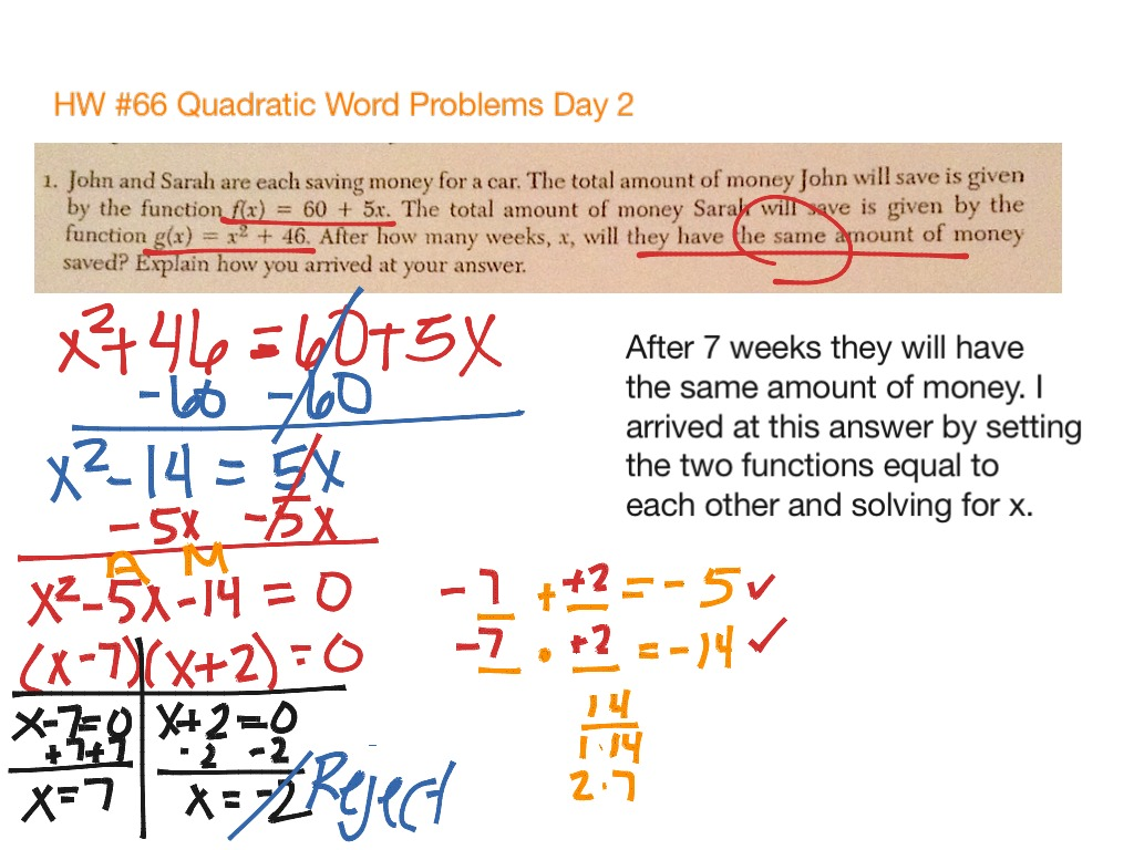 Hw 66 Quadratic Word Problems Day 2