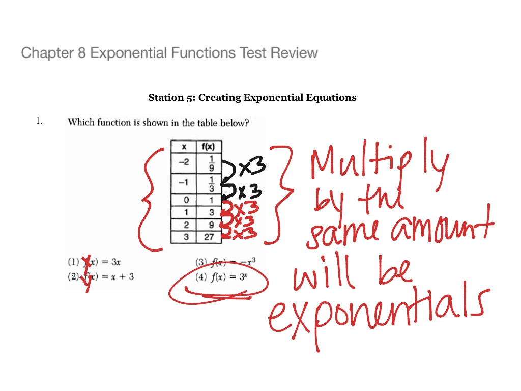Chapter 8 Exponential Functions Test Review Station 5