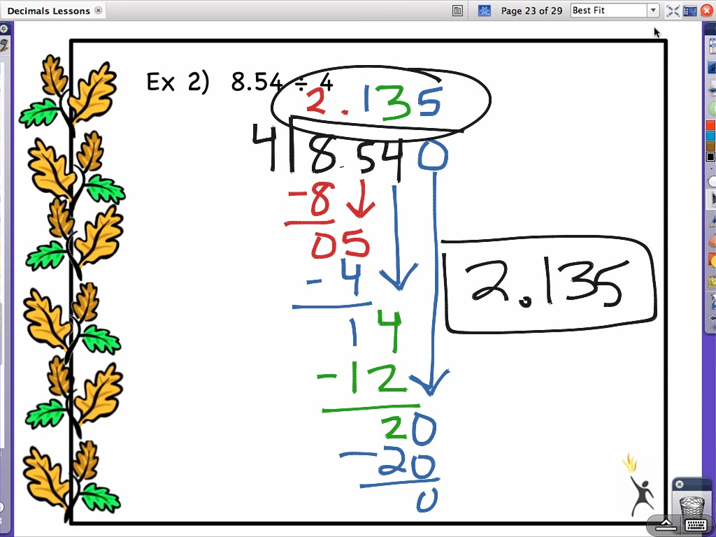 Decimals Lesson 4 Dividing Decimals By Whole Numbers