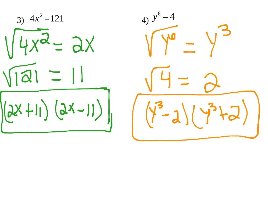 Factoring Difference Of Perfect Squares