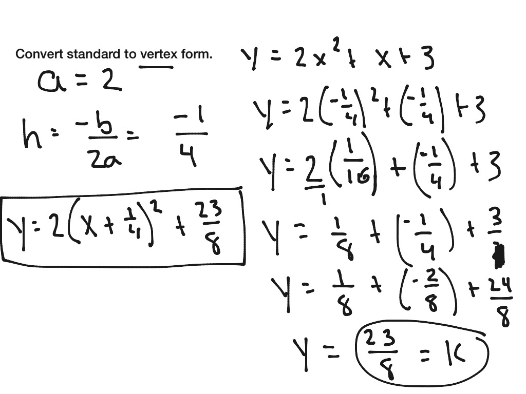 Convert Equation From Vertex Form To Standard Calculator