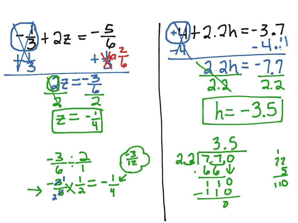 How To Solve A Two Step Equation With Signed Fractions