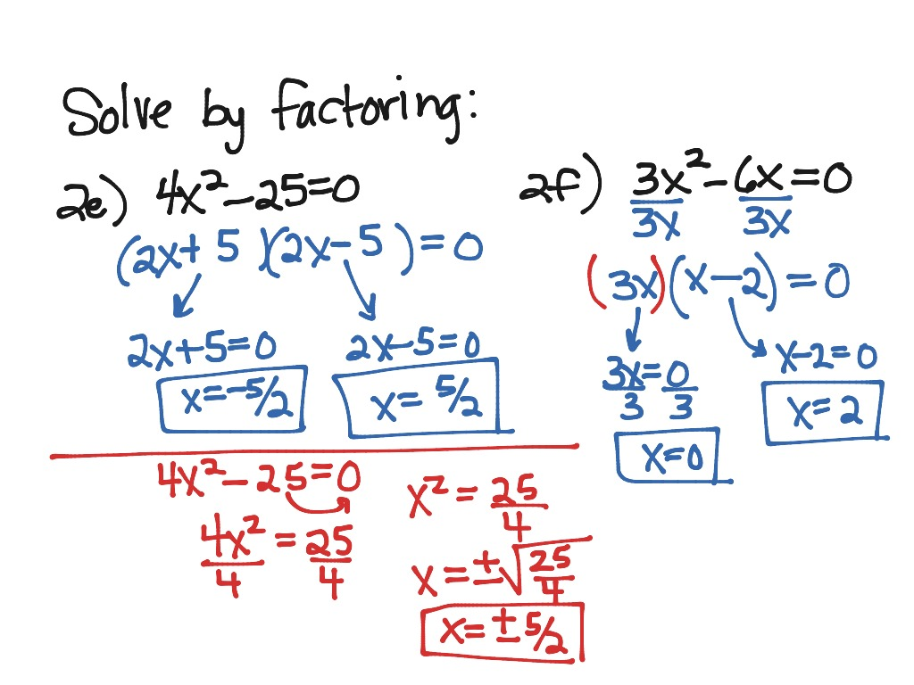 4 5 Solving Quadratic Equations By Factoring