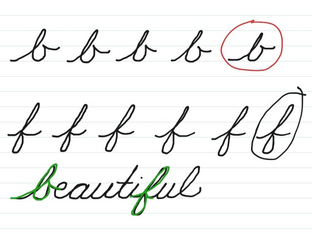 Cursive b and f  Cursive Handwriting  ShowMe