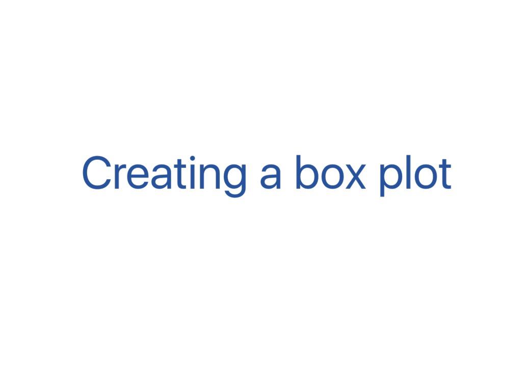 Creating A Box Plot
